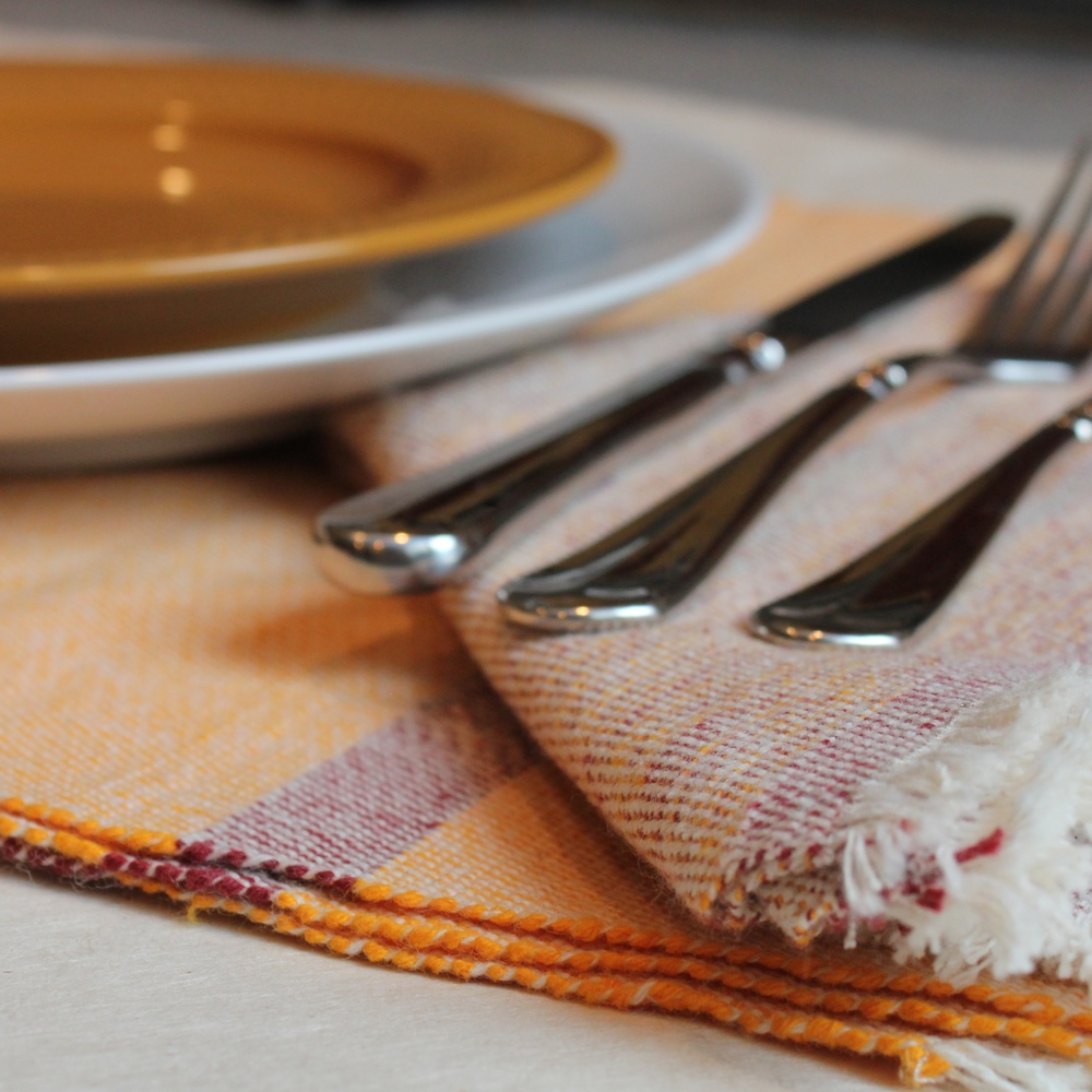Placemat and Napkin sets by Living Threads Co. in Hokie colors