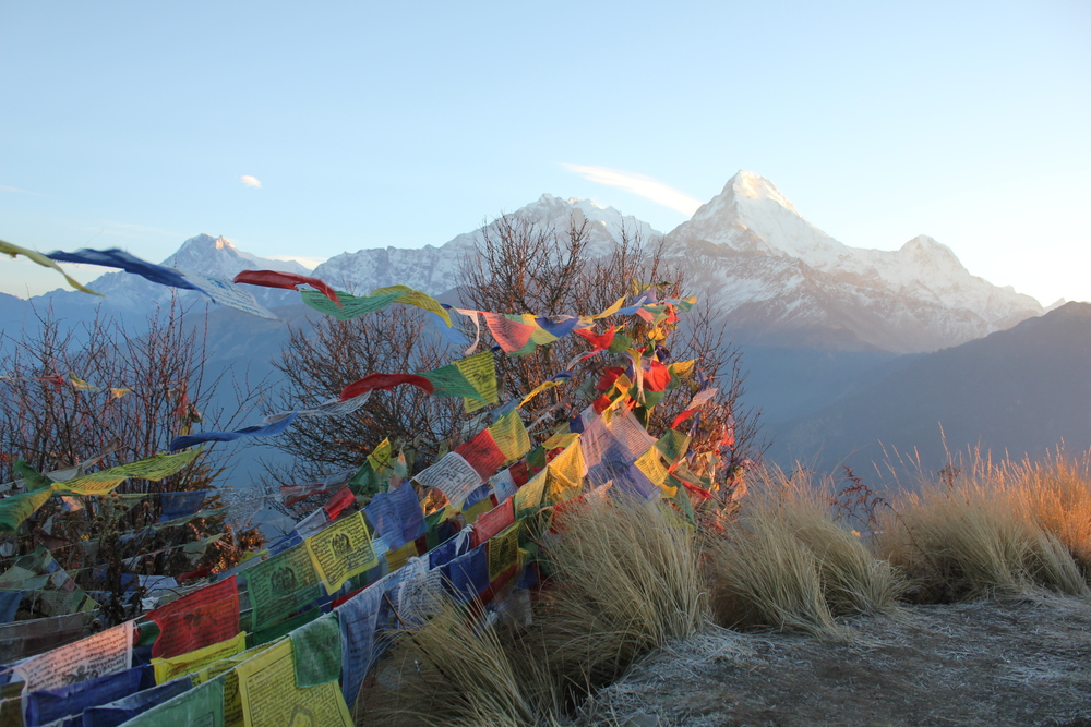View from the top of Poon Hill at 3,210 meters (10,531 feet), on the Annapurna Circuit in Nepal.