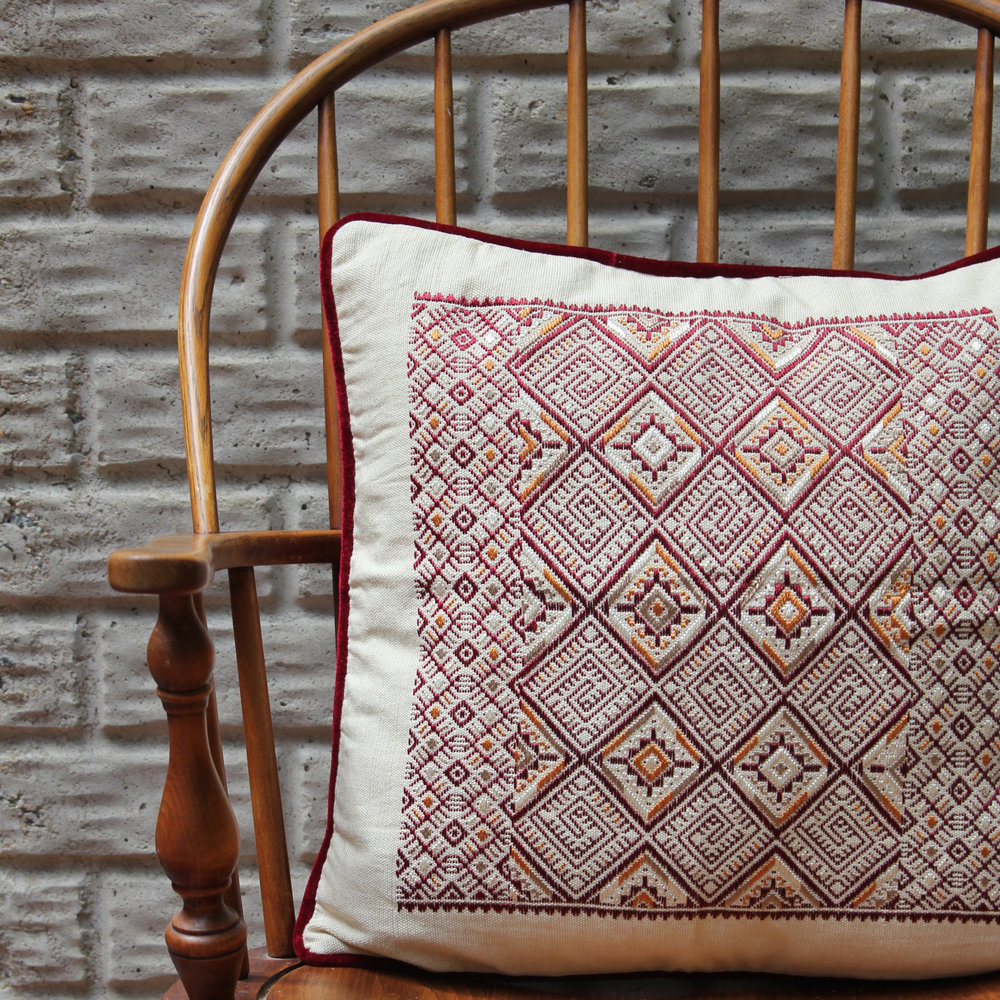Living Threads Co. - Chet Pillow $90 Handwoven in Guatemala on Mayan backstrap loom. 100% cotton. Purchase supports small scale artisans.