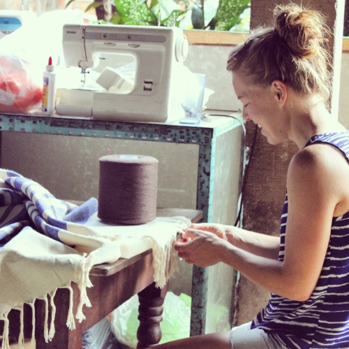 Founder Amanda working with our artisans in Nicaragua on finishings.