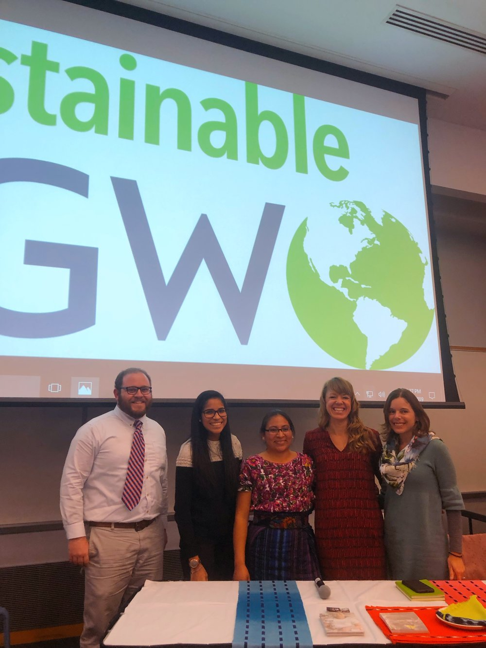 Max Gelber, our volunteer Student Translator, Ana Mesia, Amanda Zehner, and Amanda Flayer at the close of Conversation, Culture, and Creativity: A Panel Discussion, co-hosted by Sustainable GW.