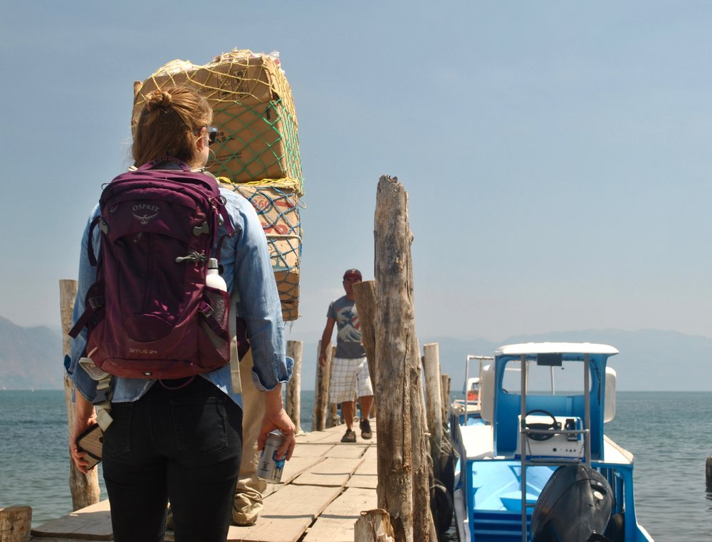 Amanda Zehner (Founder & CEO) getting ready to board the shuttle boat from San Pedro to Santiago.