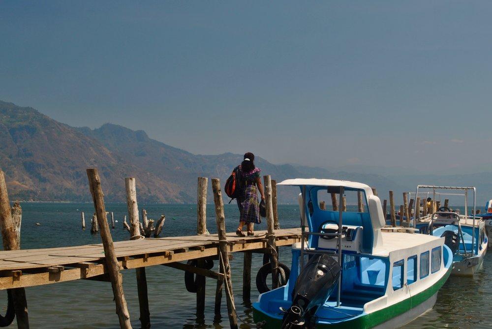 Local preparing to board the shuttle boat at Lake Atitlan in Santiago.