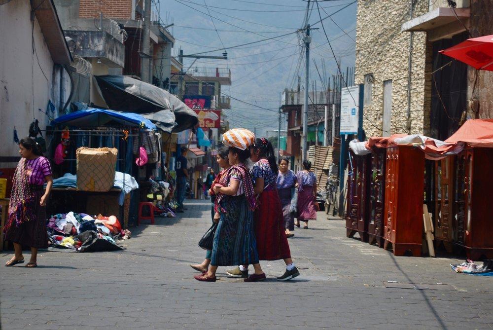 A group of women walking in Santiago, Guatemala.