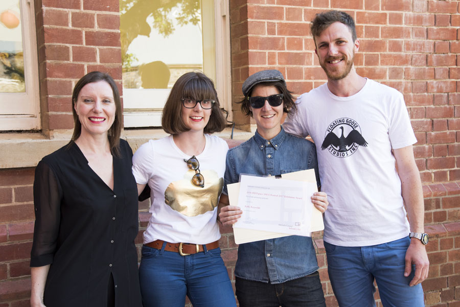Co-Directors present award at Adelaide Central School of Art award ceremony. L-R: Rachel Kent (Curator MCA), Jenna Pippett (Co-Director), Kelly Reynolds & Luke Wilcox (Co-Director)
