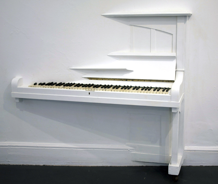 Image: Heidi Kenyon, The air finds it hard to breath, 2009, upright piano, paint, cassette tape and mixed media