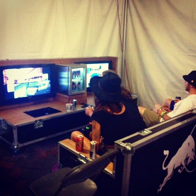 Check out the portable man cave @redbullden in the artist lounge at #ums2014 ! How do we for that in the band trailer!?
