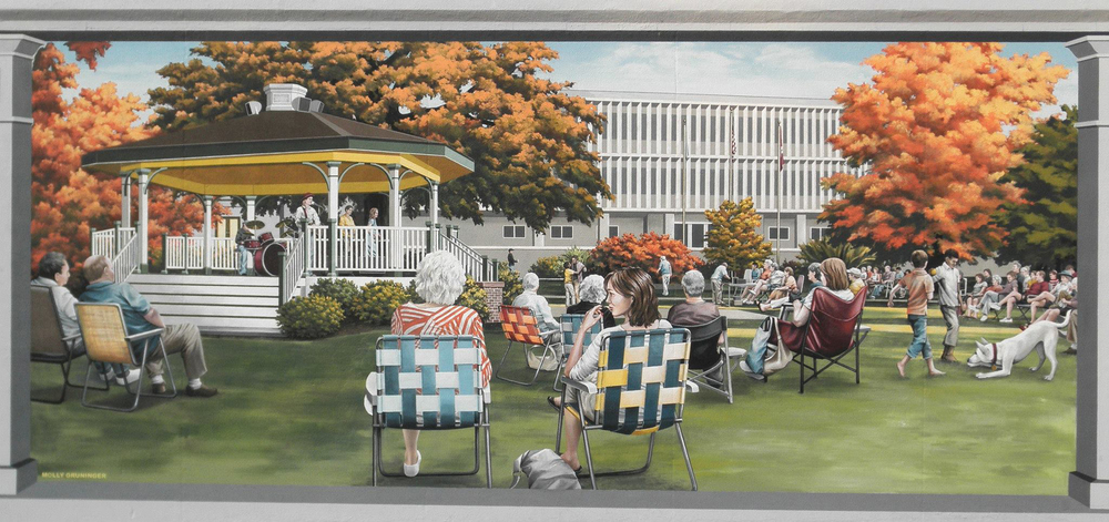 Warder Park Band Concert. Flood wall mural. Jeffersonville, Indiana, 20'x 10'