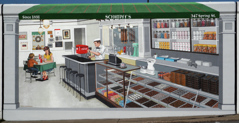 Schimpff's Confectionery. Flood wall mural. Jeffersonville, Indiana, 20'x 10'