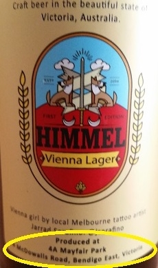 Our Vienna lager label states the address where the beer was brewed