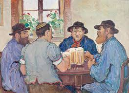 Francois Jaques: Peasants Enjoying Beer at Pub Fribourg (Switz. 1923)