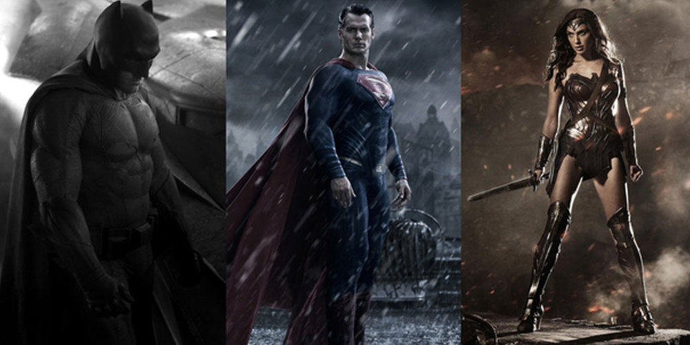 Ben Affleck as Batman, Henry Cavill as Superman, and Gal Gadot as Wonder Woman. DC Entertainment / Dune Entertainment / Syncopy