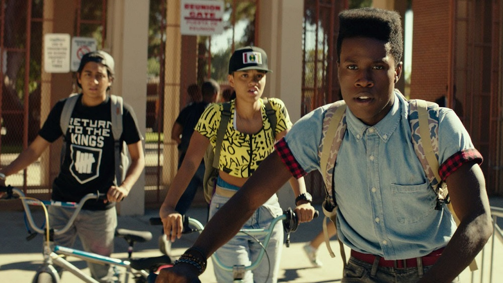 Malcom (Shameik Moore) and his two best friends Jib and Diggy (Tony Revolori and Kiersey Clemons) make up the trio of geeks that headline DOPE.  (Open Road FIlms)