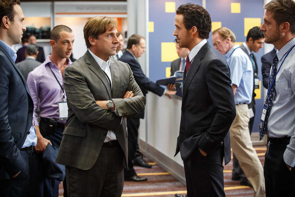 Mark Baum (Steve Carell) and Jared Vennett (Ryan Gosling) discuss terms of their agreements. (Paramount Pictures)