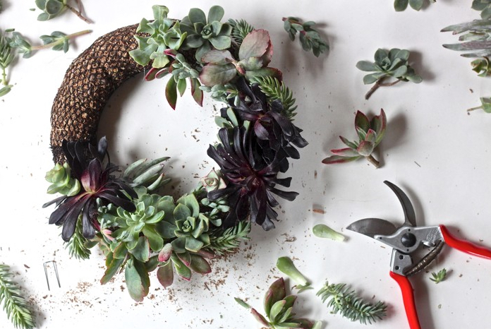 Succulent wreath via Gardenista.com