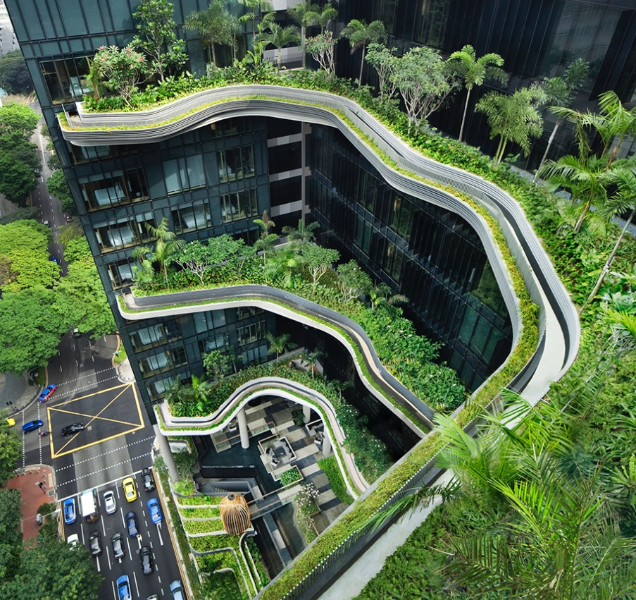 In Singapore, the Parkroyal on Pickering describes itself as a 'hotel in a garden'. It comprises three towers connected by a lush 15,000 m² sky garden.