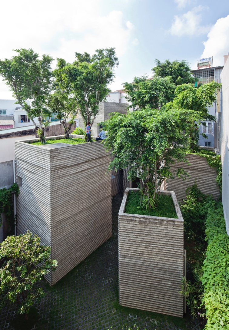 'House for Trees' Vo Trong Nghia Architects.  Image by: Hiroyuki Oki Responding to Vietnam's rapid urbanisation, Vo Trong Nghia Architects developed prototype housing to reintroduce nature to the city. As well as accommodating much-needed trees, the high-density housing structures also reduce the risk of flooding by doubling as storm water basins.