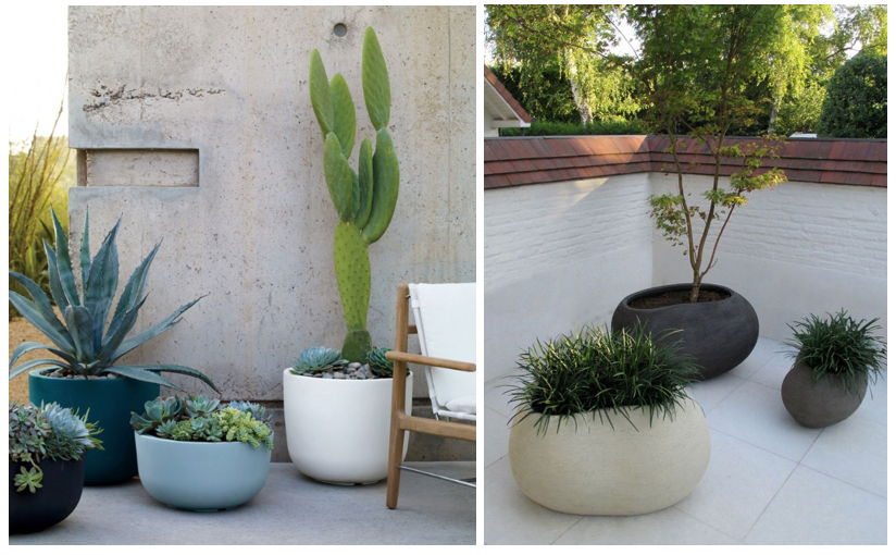 L to R: Naoto Fukasawa for  Serralunga  cup planters and Organic shaped planters by  Mondo Design    Make a statement by clustering pots of different sizes, colours and shapes.
