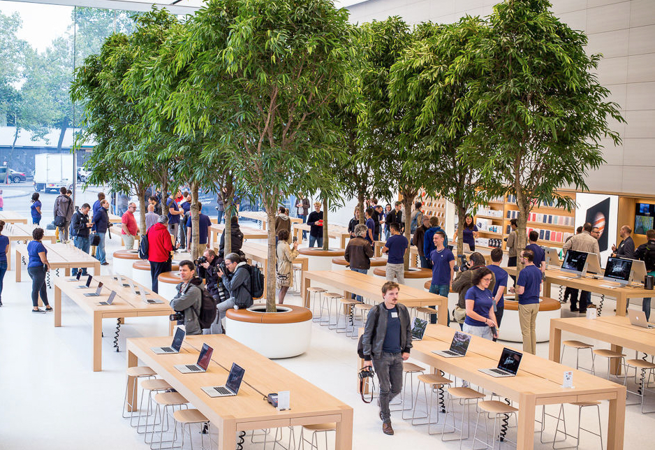 The Apple Store in Brussels features trees that are visible to people outside the store. The use of natural materials such as wood complements this biophilic approach to design. Image via Data News.
