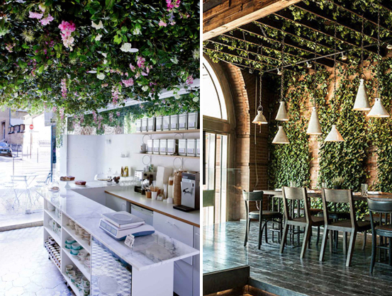 Restaurants as well as retailers can create more engaging experiences through the use of plants. Images via Yellowtrace and Harpers Bazaar.