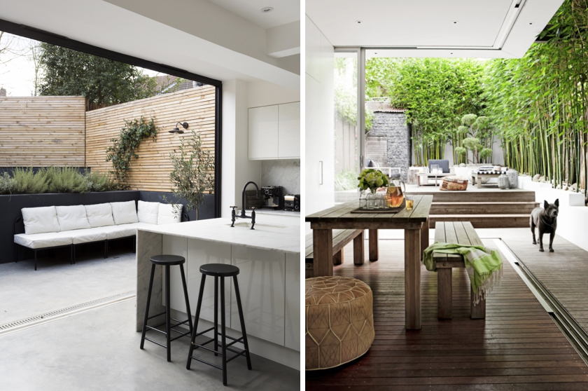 A seamless connection between a courtyard and indoor living areas enhances the liveability of a home. Images via jj Design and Apartment Therapy.