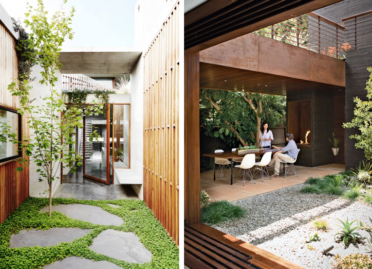 The amount of light your courtyard receives will determine which plants will thrive in the space. Images via  Desire to Inspire  and  Dwell .