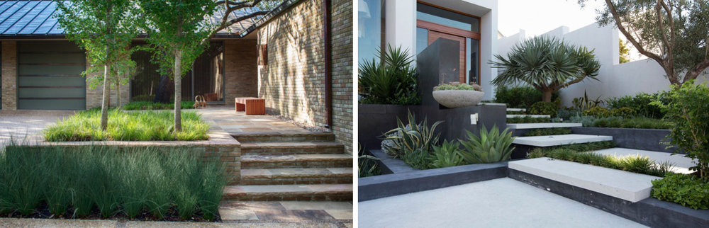 Images L to R via  Dwell  Designer: Tary Arterburn of Studio Outside, Photographer: Arien Kennedy and  HomeDSGN  Designer: Tim Davies Landscaping
