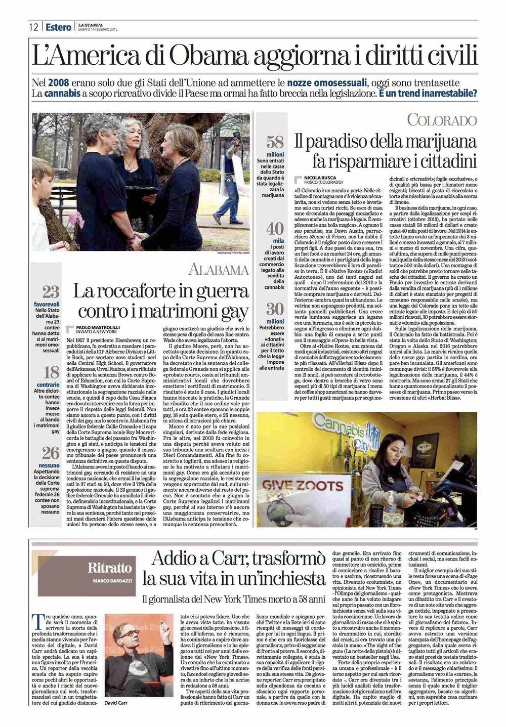 La Stampa (ITA). Reportage on the marijuana incomes in Colorado. 02-14-15