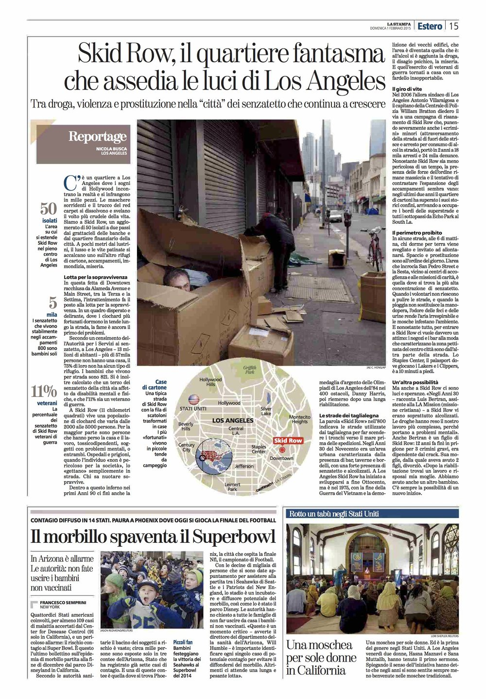La Stampa (ITA). Skid Row: the toughest side of Los Angeles.