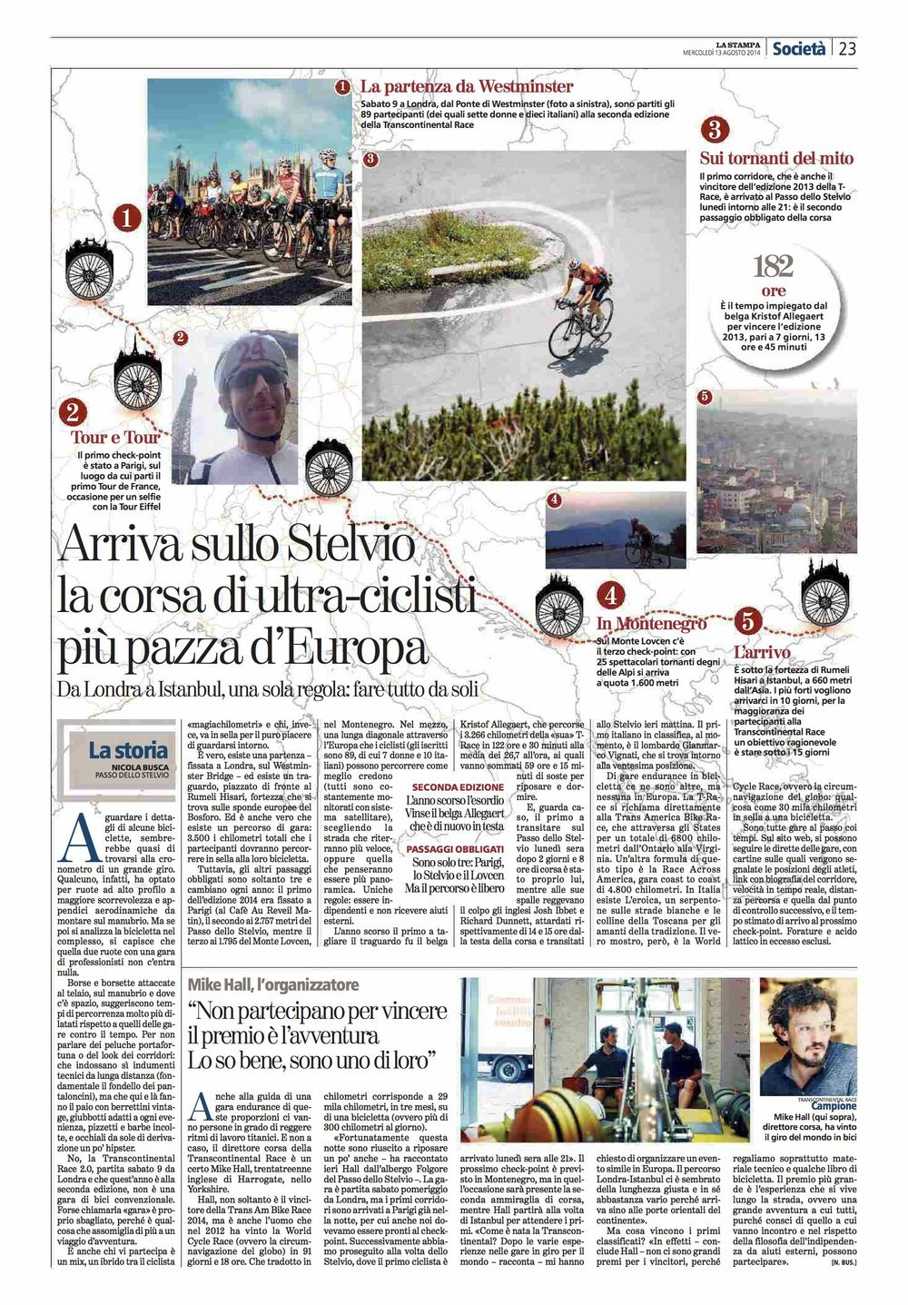 La Stampa (ITA). Transcontinental Bike Race 2014.