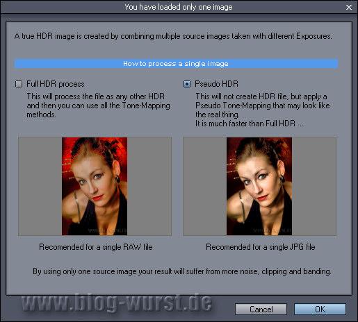 Pseudo HDR auswählen