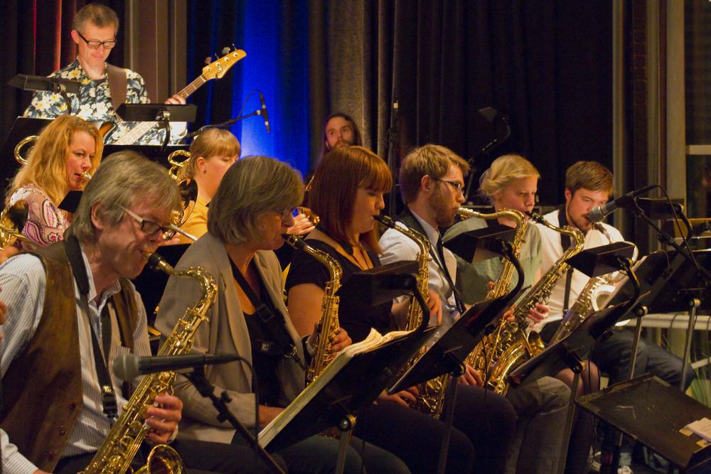 HiOA Storband vartet opp med balkanmusikk og skeive taktarter på Romerike Storbandfestival 2014. Foto: Hallvor Gudim