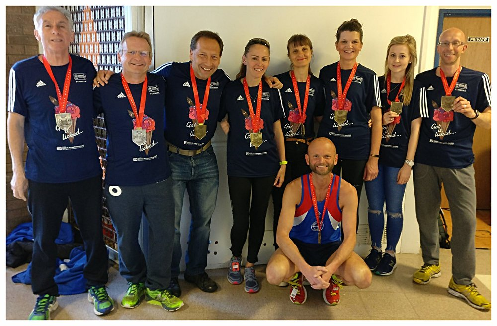 Nicos, Ian, Jeff, Penny, Vicky, Nicki, Jess, Neil and Mark (straight back on the training) Stone showing off their VLM medals.