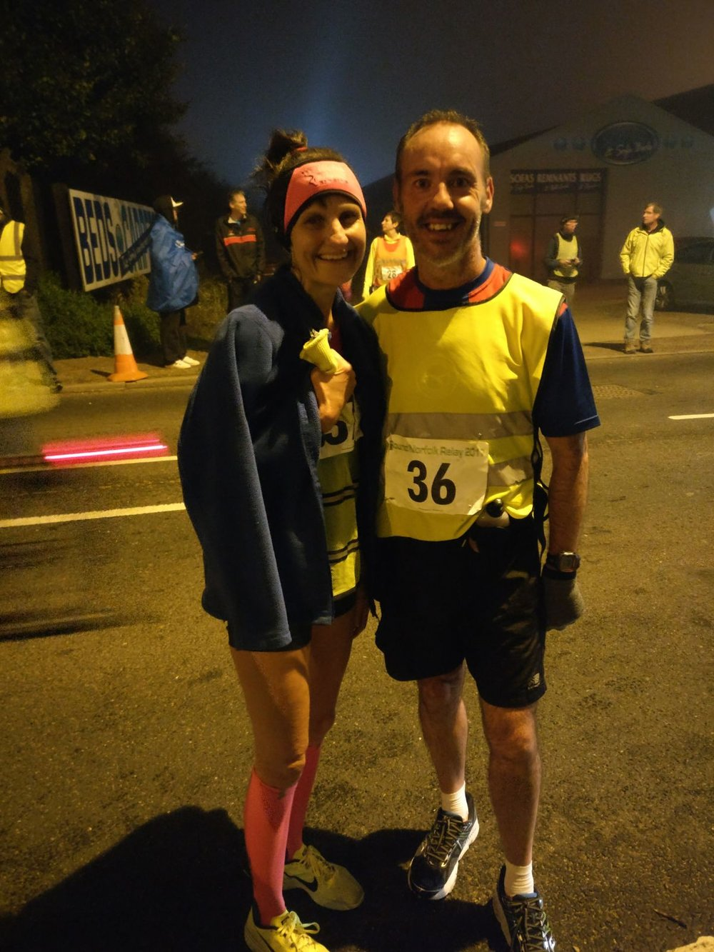 Longest legs of the relay in the early hours! Almost 20 miles each.....well done Vicky and Andrew.