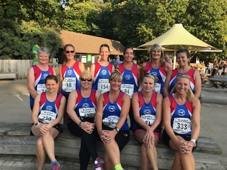 A fine-looking group of ladies about to take on the Wibbly Wobbly Log Jog 2018