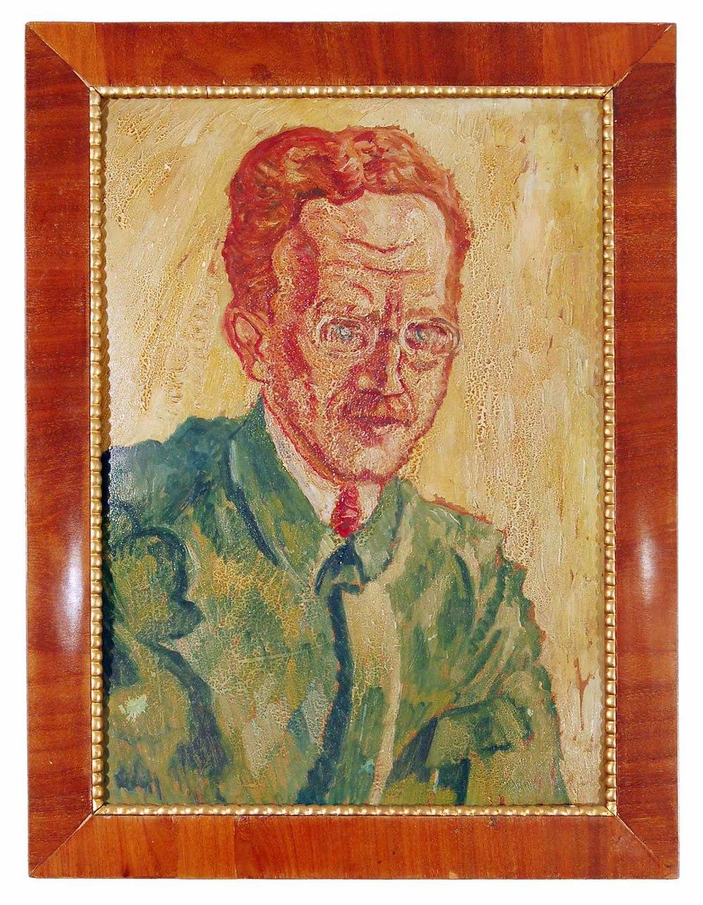 """Fischer Johannes, Wien 1888-1955, Mitglied der Sezession und d. Hagenbundes, """"Porträt v. Oskar Grund"""" Öl/Malkarton, 67x75cm"""