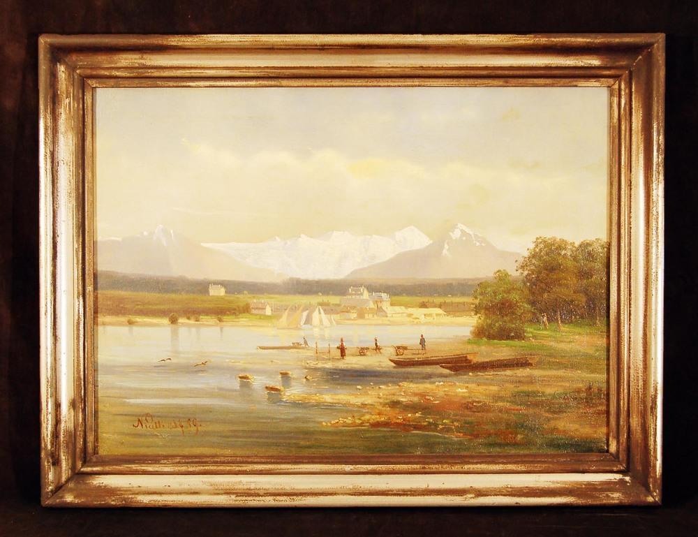 Nicelli 1859, Seenlandschaft mit Personenstaffage, Öl/Leinwand, 77x58cm