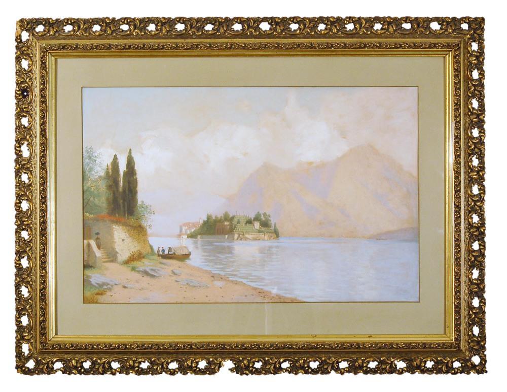 "R. Schultze, geb. 1828 in Magdeburg, Landschaftsmaler, Blick auf ""Isola Bella"", Aquarell/Papier, 90x69cm"