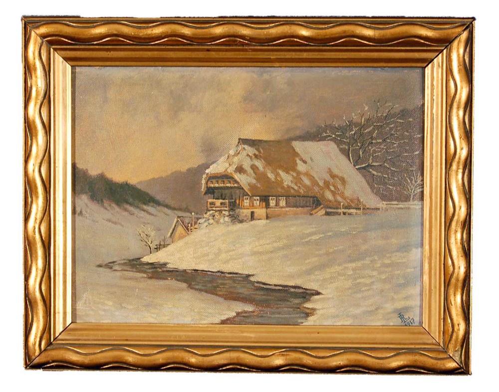 """Winterlandschaft, Öl/Hartfaserplatte, und. signiert (""""1887""""), 43x34cm"""