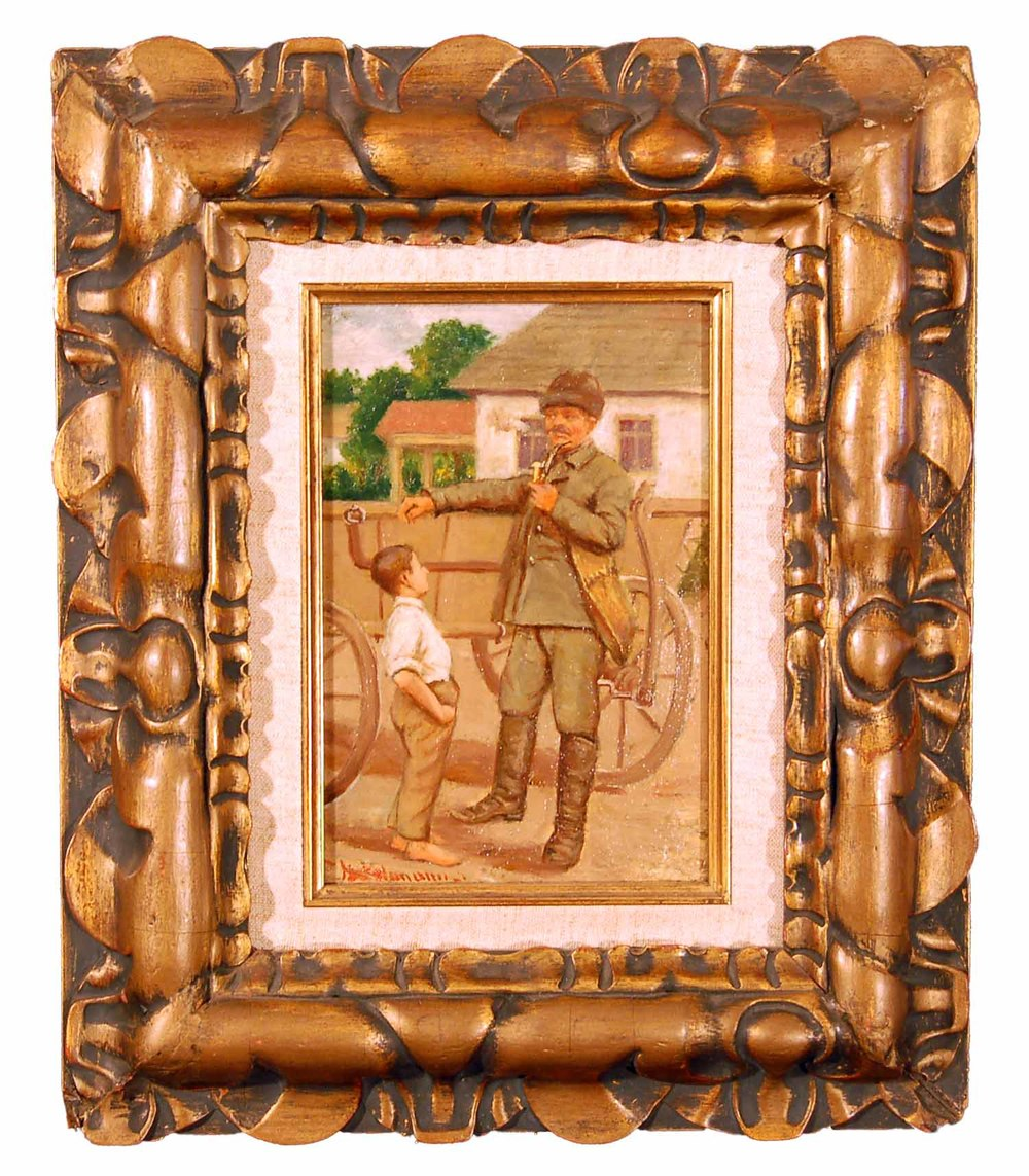 Der Postbote, Öl/Karton, Österreich um 1910, 28x35cm