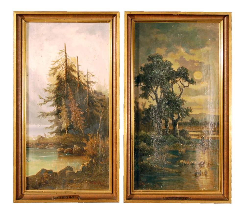 C. Rieder Maler in Oldenburg, 2 Gegenstücke (Landschaften), Öl/Leinwand, 31x58cm