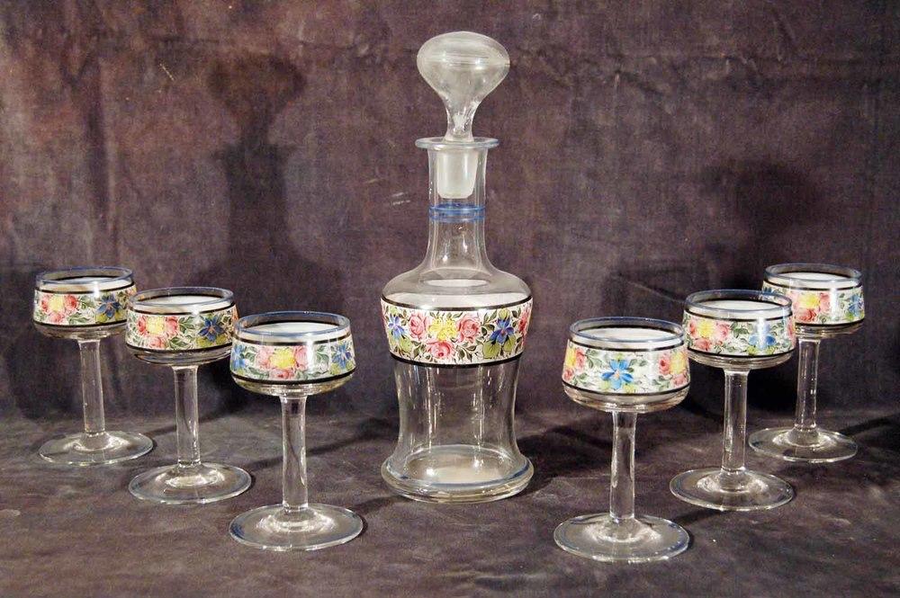 Likörgarnitur, Karaffe mit Stöpsel mit 6 Gläsern, farbig bemalt, Höhe Karaffe ca. 28cm