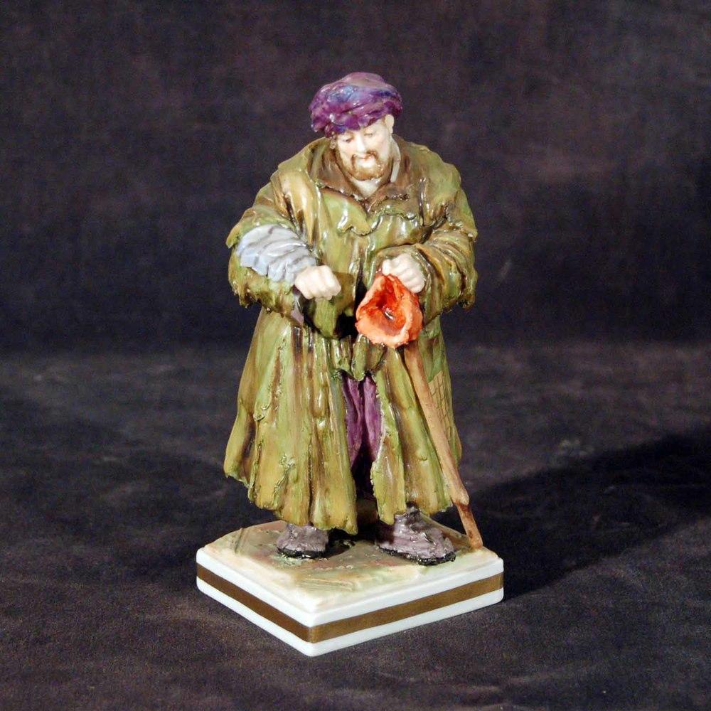 """Porzellanfigur """"der Winter""""; Capo die Monte (Neapel), bunt bemalt, Höhe ca. 15,5cm"""