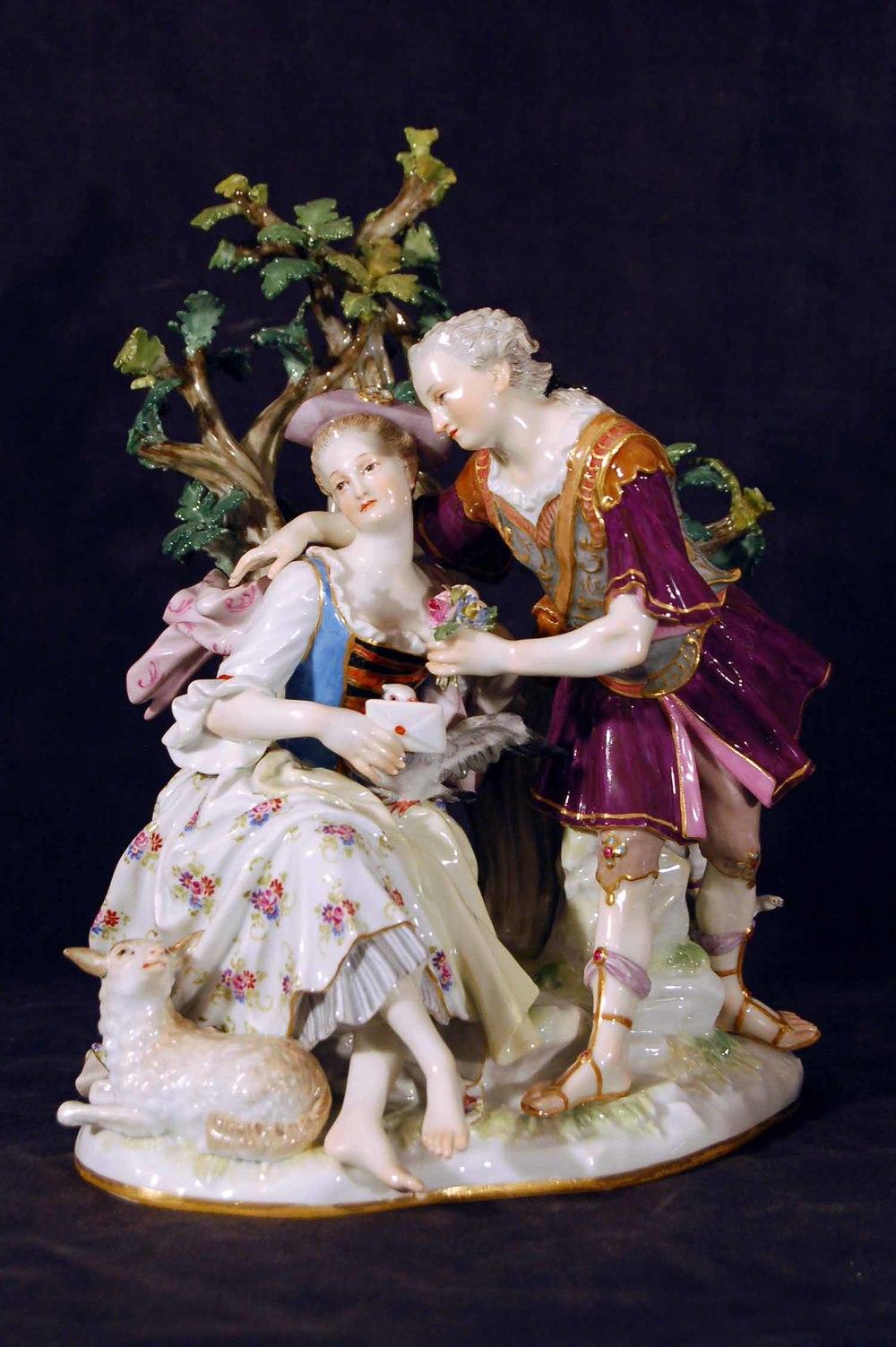 """""""Der Liebesbrief"""" Porzellangruppe, Schwertkmarke, Ende 19.Jh, Höhe ca. 20cm"""