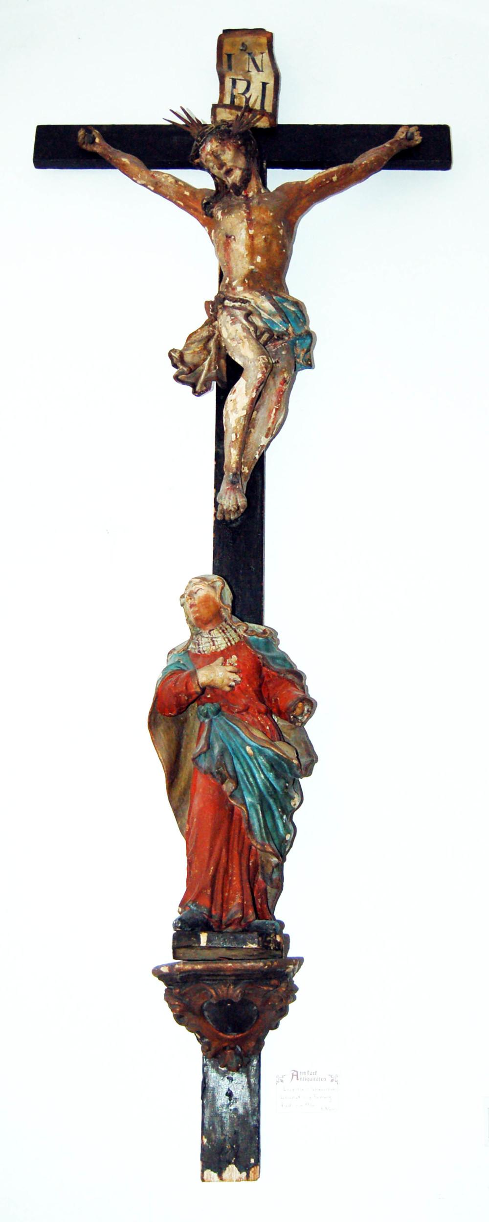 Kruzifix, Schwanthaler-Werkstatt, orig. Fassung, Ried/Innkreis, 18.Jh, Höhe ca. 175cm, Originalfassung teilweise abgeblättert