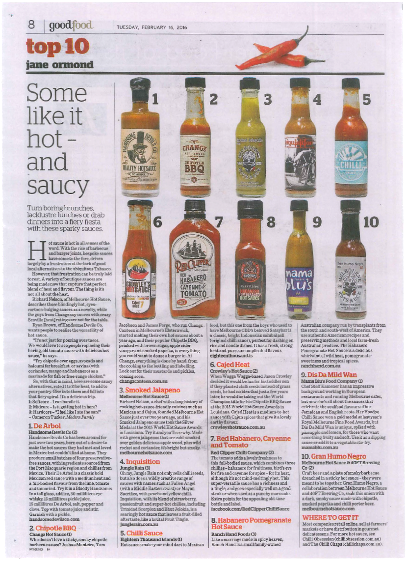 The article as seen  in the epicure section of the age newspaper
