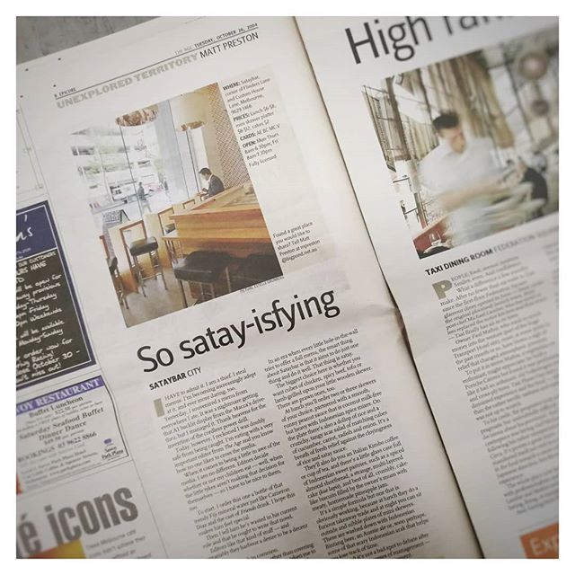 "From the Sataybar archives, our first review from 2004 by the one and only @mattscravat in @theagephoto Epicure (@goodfoodau). Credit to Mr. Preston for the term ""satay-isfying"" - we've been using it ever since... This was a coveted weekly column to be in at the time and really lifted our profile, giving us huge boost - that and an episode of @9postcards filmed around the same time 📺!"
