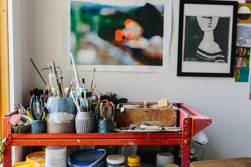 Bright and colourful tools at Imagine Lovely's home studio