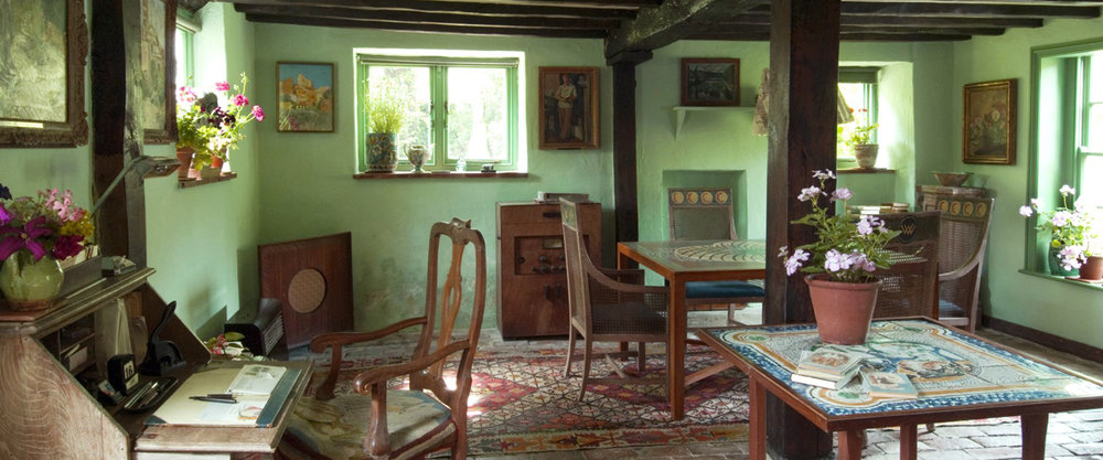 Monk's House  , East Sussex, the home of Virginia Wolfe, sister of Vanessa Bell, decorated by Vanessa Bell and Duncan Grant.