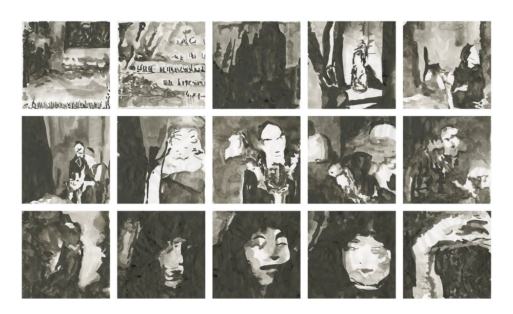 Fig 4:  samples of redrawn GAN imagery in ink from Fall of House of Usher.